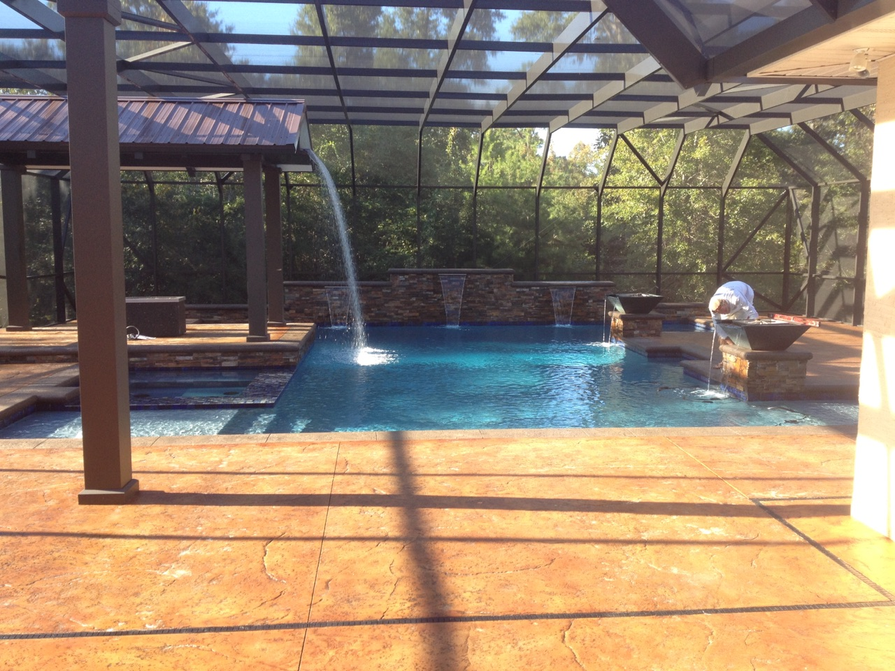 Gunite pool with fire and waterfall
