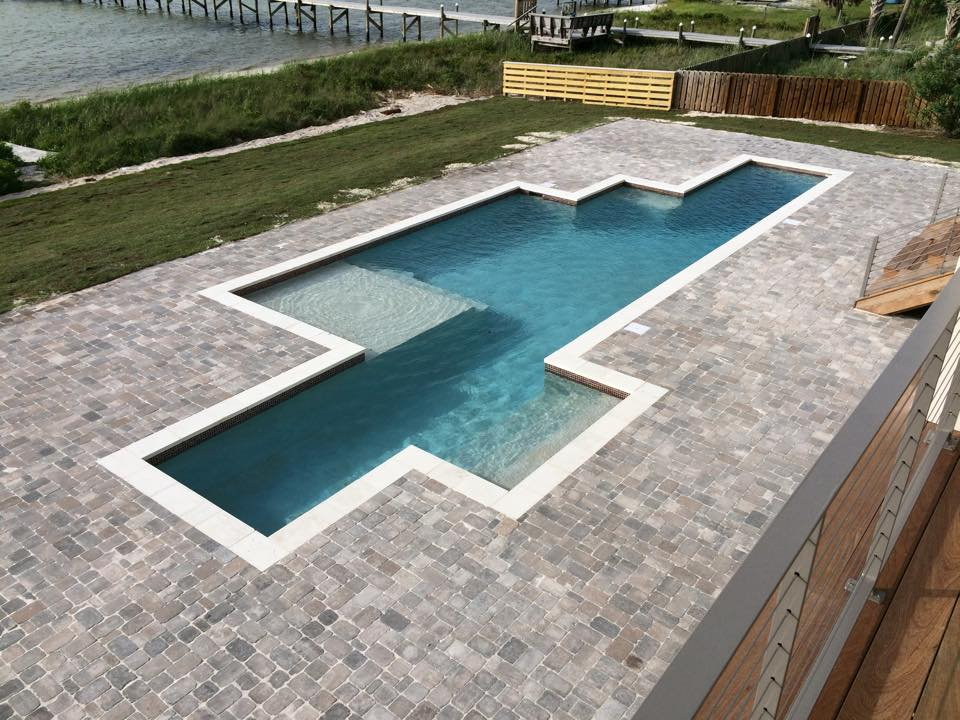 Pensacola Beach straight line gunite swimming pool