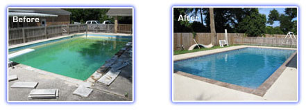 Parker Pools Resurfacing/Cleaning Before and After